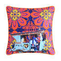 Sky Blue Taxi Glaze Cotton Cushion Cover