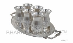 Pure Silver Designer Glass Set With Tray