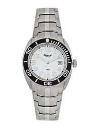 OMAX Analog White Dial Men''s Stainless Steel Watch - SS197