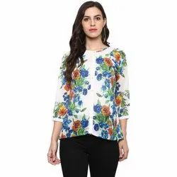 Yash Gallery Women's Georgette Floral Print Shirt