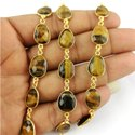 Gemstone Bezel Connector Chain - 8mm To 12mm Freeform Size Faceted Gemstone Connector Chain