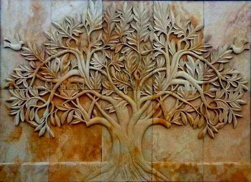 Teak Sandstone Wall Mural