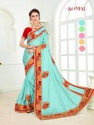Party Wear Border Komal Burffy Slab Silk Saree with Melborn Silk Blouse