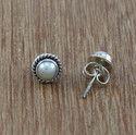 925 Solid Silver Fashion Jewelry Pearl Gemstone Stud Earring