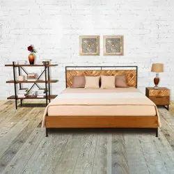 Brown Modern Rajtai Wood And Metal Designing Bed For Hotel / Restaurant