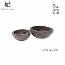 Handmade paper mache light mauve bowls, blue dandelion decal print