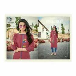 Red Formal Wear Ladies Trendy Cotton Kurti