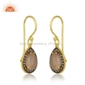 Rose Chalcedony CZ Gemstone Gold Plated Silver Earring Jewelry