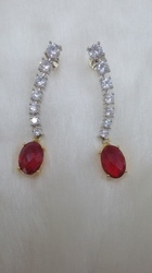 Fancy Red Stone Earring