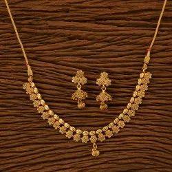Brass, Copper Gold Plating Antique Delicate Necklace Set 23064