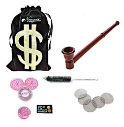 Rosewood Smoking Tobacco Pipe 12 Inch INCL. Herb Crusher & Full Accessories