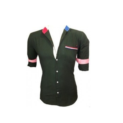 38c98b8d0 Slim Fit Rollup Sleeves Plain Branded Casual Wear Plain Cotton Shirts,  Size: M,