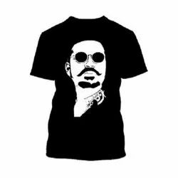 Cotton Black Dhanush Half Sleeve Printed T-Shirt