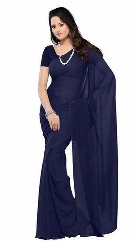 ff64e01c8b2128 Georgette Plain Blue Color Saree, Rs 160 /piece, Kanha Fashion | ID ...