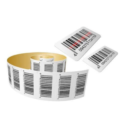 White Paper Barcode Stickers, Packaging Type: Roll