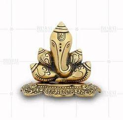 Gold Plated Shankh Ganesh Statue