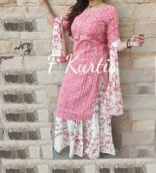 Star Product 3/4th Sleeve Rayon Designer Kurti Skirt With Duptta