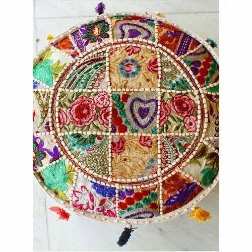 Sensational Patchwork Pouf Cover Creativecarmelina Interior Chair Design Creativecarmelinacom