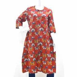 Cotton Casual Wear Ladies Printed Anarkali Kurti, Wash Care: Handwash