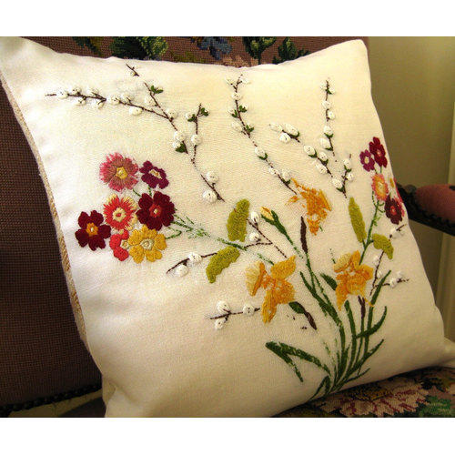 Cotton Printed Hand Embroidered Cushion Cover Id