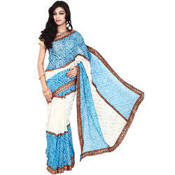 ad76f3bb2 Sky Blue Crepe Bandhani Saree with Blouse Piece