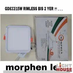 Cool White MORPHEN-LIGHT HOUSE LED Panel Light Rimless 15 Watt Square, For Indoor