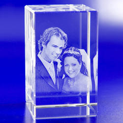 Personalized 3D Crystal Cube, Size: 5x5x8 Inches
