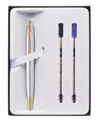 Cross Calais Chrome Gold Electroplate Ball Pen & 2 RefIlls