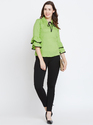 100% Rayon Women Frill Sleeve Black Top
