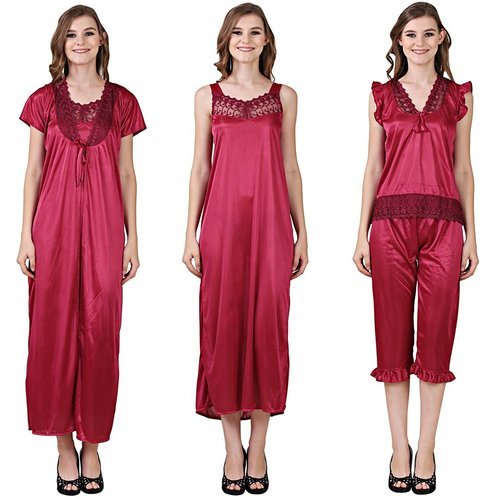 3adafbf25b Satin Ladies Plain Nightwear