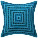 Embroidered Mirror Cotton Cushion Cover 16x16 Pillow Case