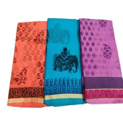 Casual Fancy Printed Handloom Cotton Saree, Machine wash, With Blouse Piece
