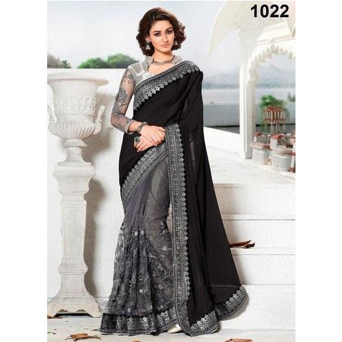 7ec529a43d926 Ladies Kota Silk Black And Grey Designer Saree