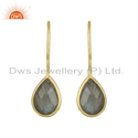 Yellow Gold Plated Silver Labradorite Gemstone Hook Earrings Jewelry