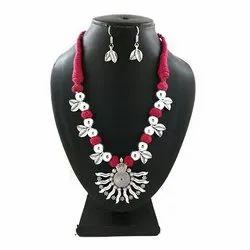 Oxidized Pink Leaf Necklace Set