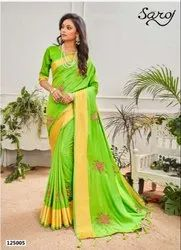 Parrot Green Color Sana Silk Patta Saree