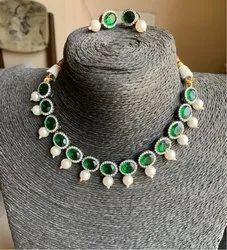 Brass Emerald CZ Stone Necklace