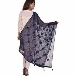 Chiffon Blue Ladies Nazmin Embroidery Dupatta, Packet