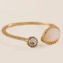 Rose Quartz & Crystal Quartz Gemstone Fine And Fashionable Ring Gold Plated Jewelry