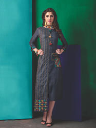 PR Fashion New Designer Steel Blue Color Kurti