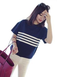 Women Loose Thin Striped Short-Sleeved T-Shirt