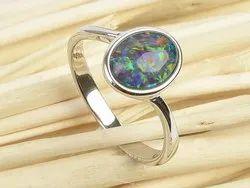 925 Sterling Silver Australian Opal Gemstone Blue Green Fire Ring Wholesale Indian Silver Jewelry