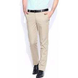 Mens Beige Formal Trousers