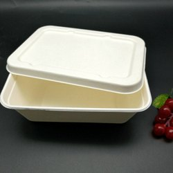 Sugarcane Fiber White 650 ml Rectangular Box With Lid, for Event and Party Supplies