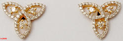 Peculiar Small Diamond Studded Intertwined Three Petal Earring