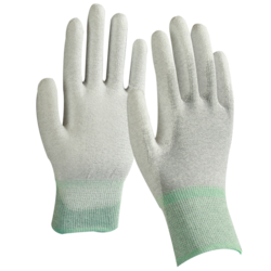 Plain White Copper Fibre PU Coated Gloves, Industrial, Hospital