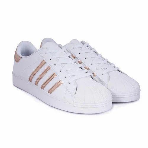 Synthetic White Ladies Golden Stripes