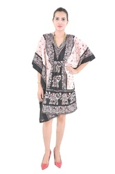 Indian Black Elephant Cotton Wear Poncho Fashionable Kaftan