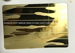Stainless Steel Mirror Finish Etching Sheet Gold Colour