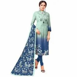 Rajnandini Green And Blue Chanderi Silk Embroidered Semi-Stitched Dress With Printed Dupatta
